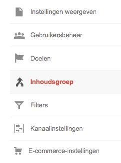 Google analytics inhoudsgroepen maken